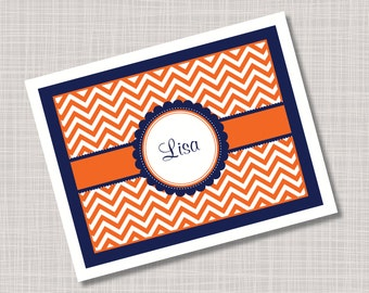 Custom Orange & Navy Blue Chevron Note Cards