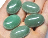 Green Aventurine Grooved Oval Cabochons, Natural Gemstones, Macrame Supply Deep Groove - 5 pcs - 25.0 x 18.0 x 7.0 mm - 117.8 ct - 170120-20