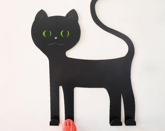 Kids coat rack. Cat wall hook. Black cat. Children coat hook. Cat lover gift. Modern coat hanger. Nursery wall decor. Kids wall decor.