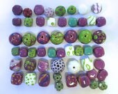Kazuri Beads, 50 Kazuri Beads,Purple Green and White Ceramic Beads, Kazuri African Beads No 88
