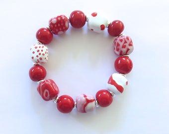 Beaded Bracelet, Kazuri Bangle, Fair Trade, Ceramic Jewellery, Red Bangle