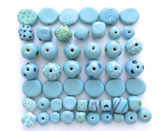Kazuri Beads, 50 Kazuri Beads, Blue and White Ceramic Beads, Kazuri African Beads No. 81