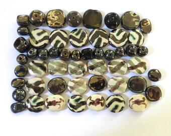 Kazuri Beads, 50 Kazuri Beads, Gold Brown and Cream Ceramic Beads, Kazuri African Beads No 91