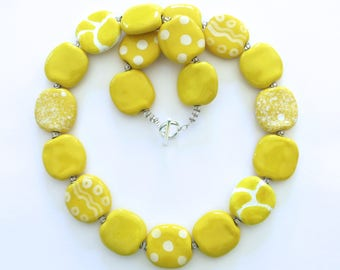 Kazuri Beaded Necklace, Ceramic Jewelry, Kazuri Bead Necklace, Yellow and White Statement Necklace