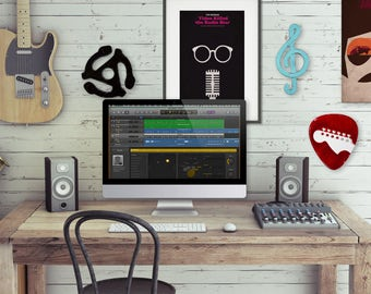 rock and roll wall art bundle - guitar pick, 45 adapter, treble clef