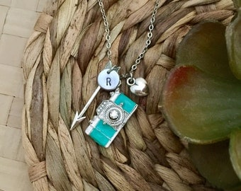 Camera Necklace, Initial Necklace, Arrow Necklace, Heart Charm, Hand stamped Necklace, Best friend Gift, Handmade Jewelry, Bridesmaid Gift