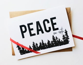 peace on earth holiday card (set of 8) | corporate holiday card | customized | personalized | recycled