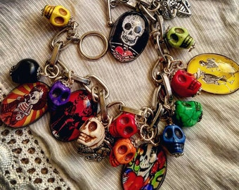 Festive Day of the Dead Skull and Other Unique Charms Bracelet