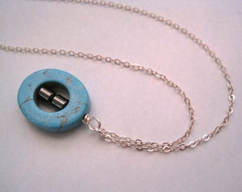 Turqouise Howlite Pendant Necklace with Hematite Accents in Sterling Silver Minimalist Style Blue Stone