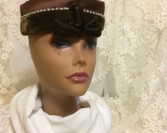 Beautiful Brown Velvet Pillbox Hat