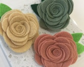 Set of 3 felt flower hair clip/ flower clip/ hair clip/ alligator clip/ felt flower/ hair flower clip/ flower accessory/ women/ girl gift
