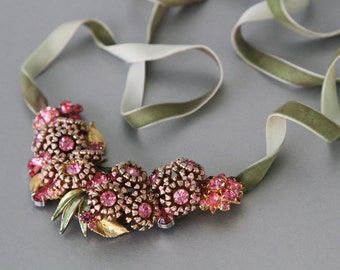 Prettied in Pink Statement Necklace. Vintage Rhinestone Jewelry