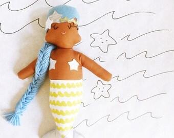 Mimi Mermaid Brown Skin Rag Doll - Ready to Ship