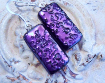 Fused Dichroic Glass Earrings, PURPLE Textured Dichroic, Dangle Earrings, Sterling Silver