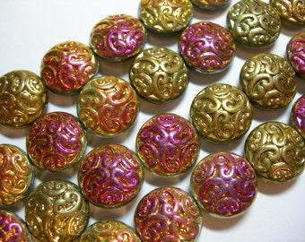 10 Lovely Czech Glass Button Beads 14mm Raspberry Gold