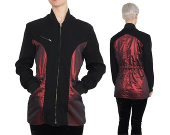 Metallic Red & Black WOOL Avant Garde Jacket | M