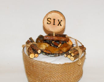 6th Birthday ~ Camping campfire  Cake Topper ~ Sixth Birthday ~ Unique real Wood log piles ~ Woodland Birthday Party ~ Lumberjack outdoors
