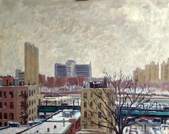 Toward The Bronx, Snow Day, NYC. 11x14 Oil Painting on Panel, American Impressionist Fine Art, Signed Realist Original