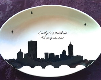 Wedding Guest Book Alternative - Wedding Plate - Signature Plate Guest Book - Custom Guest Book -  Guestbook City Skyline