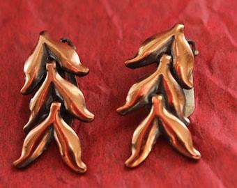 Renoir Copper Leaves Clip On Earrings
