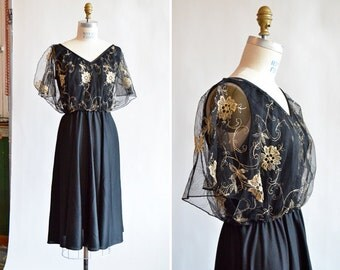 Vintage 1970s EMBROIDERED lace dress