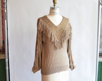 40% OFF / 3 days only / Vintage 1980s FRENCH RAGS fringed pullover