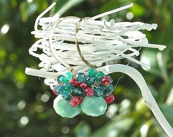 Peruvian Green Opal Dangle Earrings / 14k Gold / Ruby Gemstone / Teal Topaz / Mystic Green Quartz / Wire Wrapped / Gifts for Her / Blue
