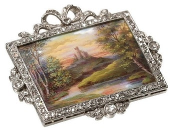 30% Off Winter Sale Fine French Belle Epoque diamond brooch magnificent enameled scenery romantic scenery