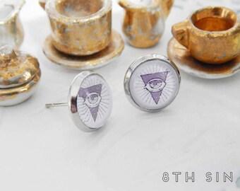 Antique Silver All Seeing Eye Stud Earrings, Antique Silver Freemason Earrings, All Seeing Eye Cameo Earrings, Eye of Providence Earrings