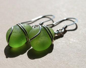 Genuine Sea Glass Earrings - Vintage Found Lime Green SeaGlass Earrings - Wire Wrapped Boho Earrings