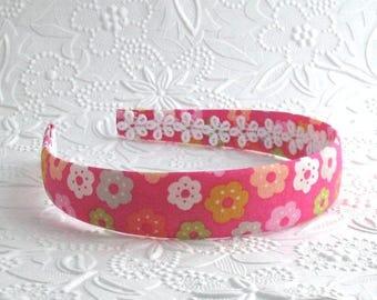 Girls Fabric Headband - Pink Floral Fabric Covered Plastic Headband for Girls, Adults, Women