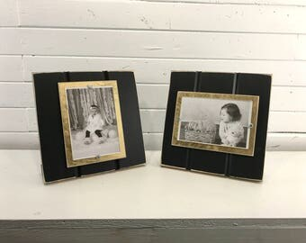 """Black and old gold table top picture frame holds one 4""""x 6"""" photo. New Orleans Saints colors"""