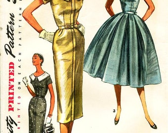 Sz 18/Bust 36 - Vintage 1950s Dress Sewing Pattern - Simplicity 1566 - Misses' One-Piece Dress With Two Skirt Options & Detachable Collar