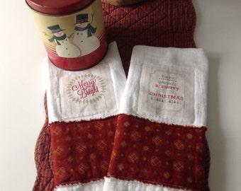 "RAGGY CHRISTMAS TOWELS, Raggy Edge Towels, 13 1/2"" x 26 1/2"", Christmas Iron-On Patches, Christmas Decor, Handmade, Ready To Ship, Tea Towel"