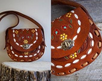 Hippie Bag  //   Tooled Leather Bag  //  FLOWER CHILD