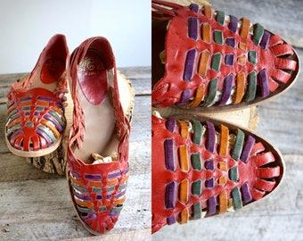 Huarache Sandals  Sz 12 wom  //   Woven Leather Sandals Sz 44  //  COLORFUL SANDS