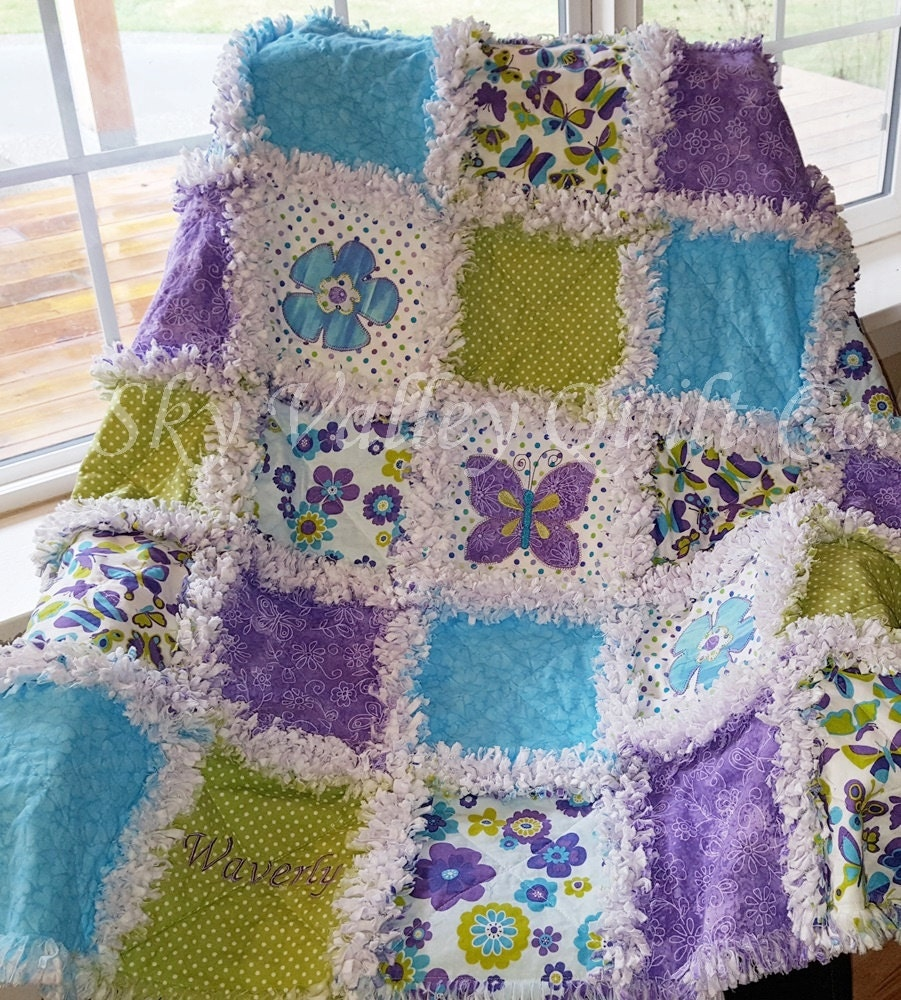 Precut rag quilt KIT or Layer Cake Beautiful turquoise and