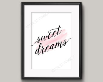 Sweet Dreams Nursery Print, Bedroom Decor, Printable Art by firstfrostdesigns - INSTANT DOWNLOAD