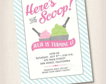 Ice Cream Froyo Birthday Party Printable Invitation