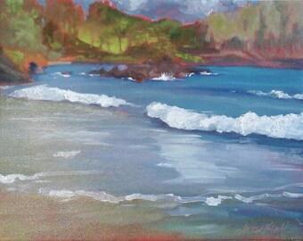 Koki Beach Maui Hawaii original oil painting plein air painting 11x14 by Pamela Neswald Mai Koki Mai Ma 'O  unique one of a kind original