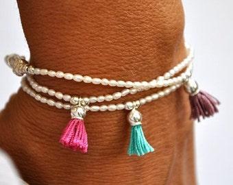 SALE items ship March 1st Fresh water pearl and sterling silver tassel bracelet. Tassel Bracelet.