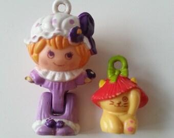 Blossom in pyjamas, poppy,  Charmkins, hasbro, vintage toy, good condition,  1983, 80s, by NewellsJewels