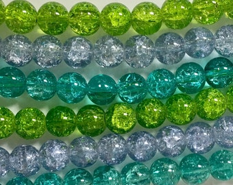 Crackle Glass Bead Mix, 3 Strand Mix, 10mm Crackle Glass Beads, Blue and Green Mix, Glass Bead Lot, Assorted Glass Beads