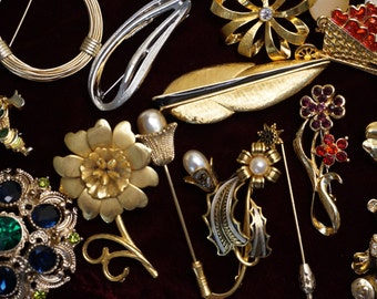 Large Lot of Brooches and Stick Pins