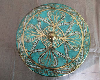 Daher vintage DECORATIVE TIN - made in England, embossed, scroll, ornate, aqua, gold, knob
