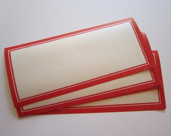 15 vintage gummed Dennison labels - red border Dennison labels - 4.625 x 2 inches
