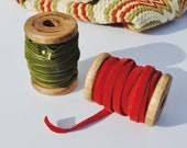 Red & Green Velvet Ribbon with Wooden Spools - Velvet, Velvet Ribbon, Red, Green, Christmas, Wooden Spools, Wood Spools, Sewing Supplies