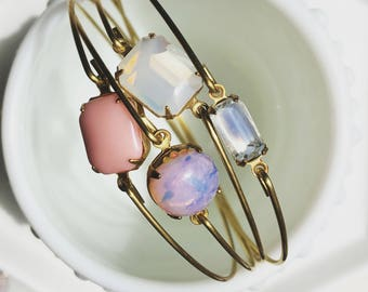 Opal and moonstone bangle set, opal, moonstone, blush jewel bangles