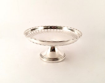 Sterling Silver Pedestal Compote Dish with cutout Leaf design