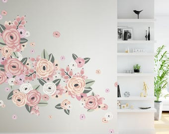 Half Order- Vinyl Wall Sticker Decals - Graphic Flower Clusters- Faded Pink